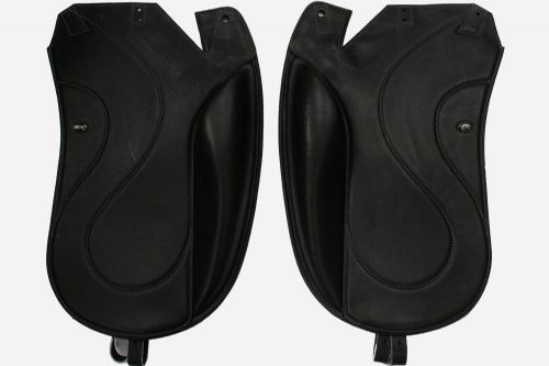 "Dressage Giant High + 1""  Flaps  Angled Back In Black With Grey Stitch  - Flap 33"